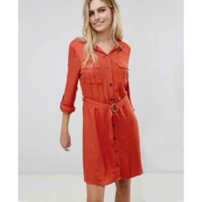 エイソス ASOS ニューヨーク風シャツ ワンピース ドレス ポケット付き フレアスリーブ 送料無料 レディース