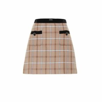 ミュウミュウ Miu Miu レディース ミニスカート スカート Checked miniskirt Cammello