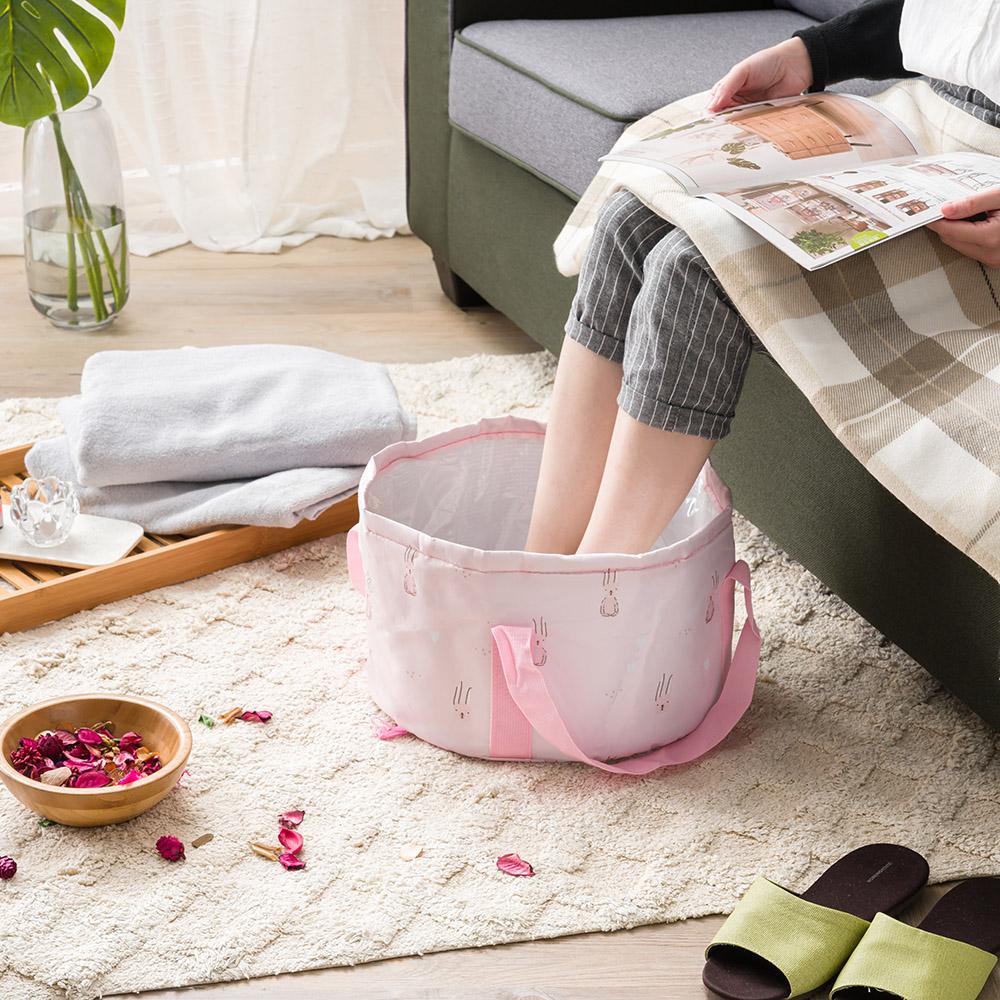*便攜折疊保溫水桶袋-粉色兔子
