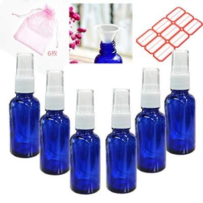 スプレーボトル 詰替ボトル - ガラス製 - アルコール、次亜塩素酸、化粧水対応 - 霧吹き 分けボトル - 30ML - 6パック - 遮光 容器 ブルー