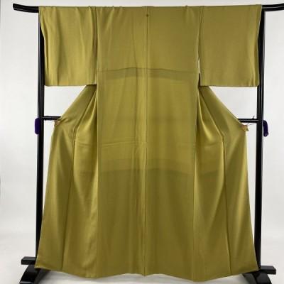 色無地 美品 秀品 一つ紋 地紋 抹茶色 袷 身丈161.5cm 裄丈66cm M 正絹 中古