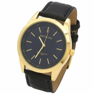 腕時計 アメリカン ジュエリー ヒップホップ Mens Black Leather Band Black Face Water Resistant Fashion Quartz Wrist Watch