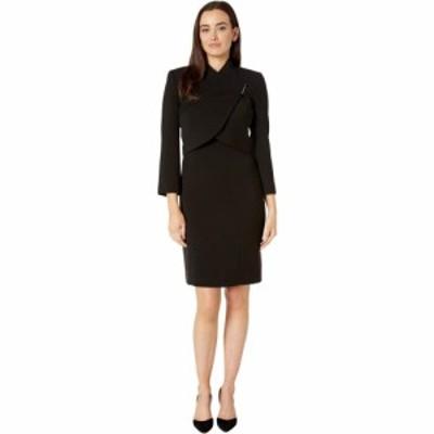 タハリ Tahari by ASL レディース ワンピース・ドレス ラップドレス Wrap Jacket with Bar Snap and Dress Set Black