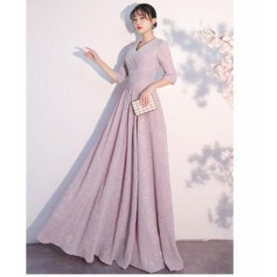 ロングドレス カラードレス パーディードレス ウエディングドレス 20代 30代 40代 aラインワンピース お呼ばれ 二次会 ゴージャス 演奏会