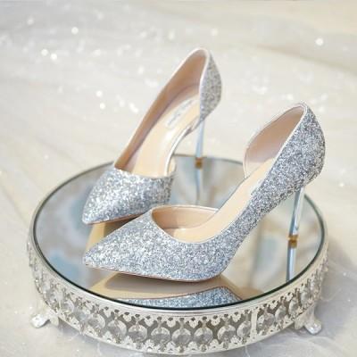 ウェディングシューズ ポインテッドトゥ 安い パンプス キラキラ レディース 靴 ハイヒール 結婚式 パーティー 二次会 フォーマル 痛くない