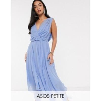 エイソス レディース ワンピース トップス ASOS DESIGN Petite drape bodice midaxi dress embellished Soft blue