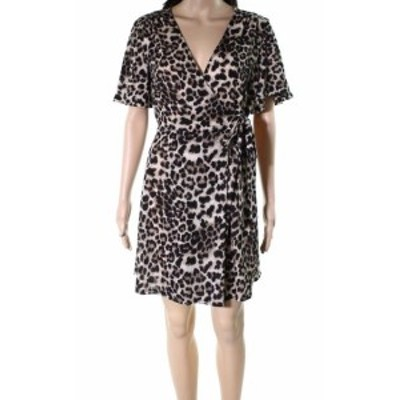 Soprano ソプラノ ファッション ドレス Soprano NEW Black Beige Size Medium M Junior Leopard Faux Wrap Dress