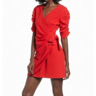 Red  ファッション ドレス Speechless NEW Red Large L JuniorFaux-Wrap Cinch-Sleeve Sheath Dress