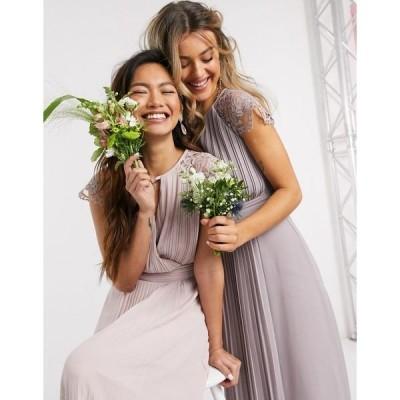 ティエフエヌシー レディース ワンピース トップス TFNC bridesmaid lace sleeve maxi dress in pink Pink