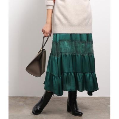 【ロペ マドモアゼル/ROPE mademoiselle】 ラインレースギャザースカート