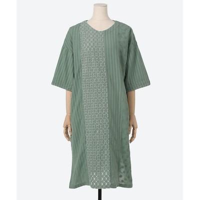 <green nout(Women/大きいサイズ)/グリーンノート> パッチワークレースワンピース ナイルグリーン【三越伊勢丹/公式】