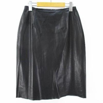 【中古】フォクシーニューヨーク FOXEY NEW YORK レザー調 膝丈スカート 42 ブラック 黒系 日本製   レディース