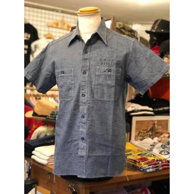 BUZZ RICKSON'S バズリクソンズ ブルー シャンブレー 半袖 ワークシャツ『U.S.N.A.S. PENSACOLA』 BR37935-125/BLUE