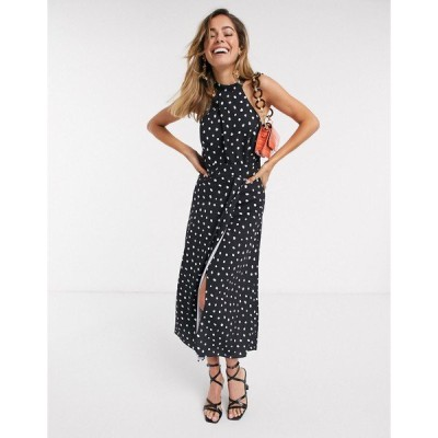 エバニュー レディース ワンピース トップス Ever New halter neck cut out midi dress in black polka dot Black polka