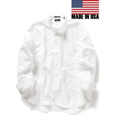 【シップス】 SHIPS×IKE BEHAR: アメリカ製 オックスフォード バンドカラー シャツ メンズ ホワイト LARGE SHIPS