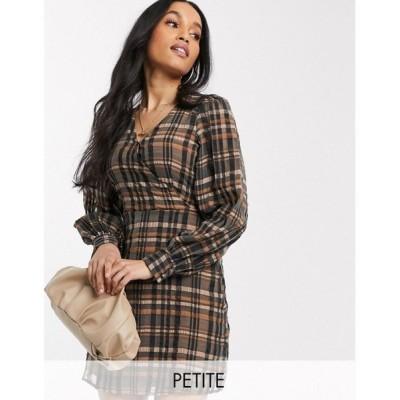 ヴェロモーダ Vero Moda Petite レディース ワンピース ラップドレス ワンピース・ドレス wrap dress with volume sleeves in brown check マルチカラー