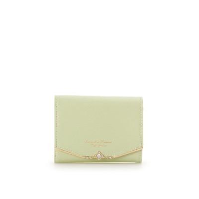 サマンサタバサプチチョイス Samantha Thavasa Petit Choice ジュエルバーL字型ジップ折財布 (イエローグリーン)