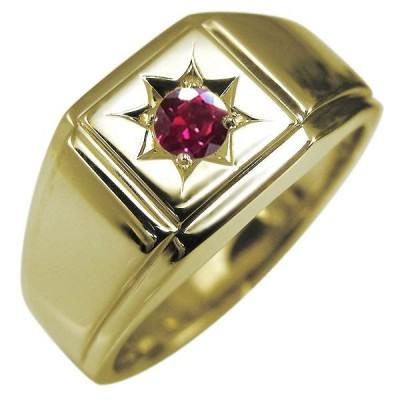 印台リング 18金 メンズリング 地金 ルビーリング 指輪 男性 プレゼント おすすめ