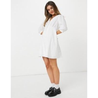 ニュールック レディース ワンピース トップス New Look poplin collar button up mini dress in white White