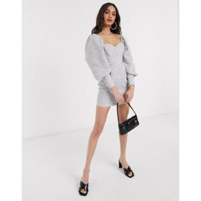 エイソス レディース ワンピース トップス ASOS DESIGN blouson sleeve mini dress in mono boucle