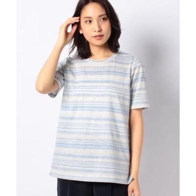 Leilian PLUS HOUSE / レリアンプラスハウス デザインボーダー柄Tシャツ