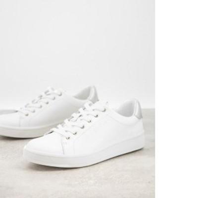 カルバンクライン レディース スニーカー シューズ Calvin Klein solange logo sneakers in white White/silver