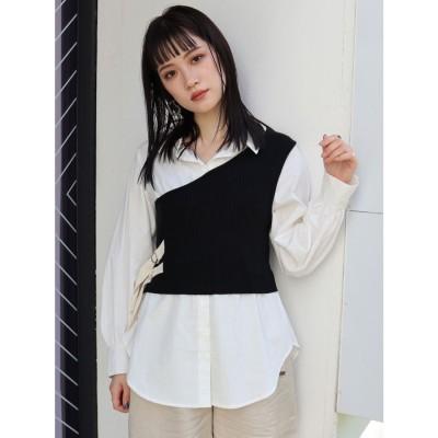 MURUA ワンショルニットレイヤーシャツ(ブラック)