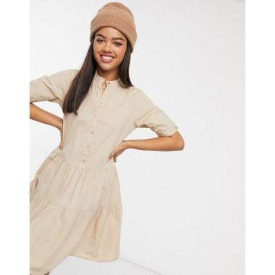 ヴェロモーダ Vero Moda レディース ワンピース ワンピース・ドレス smock dress with button front in beige ブルー