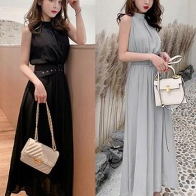 ワンピース ドレス 春 2カラー ノースリーブ ロング シンプル 上品 エレガント 可愛い おしゃれ 大人 レディース 結婚式 fe-2681