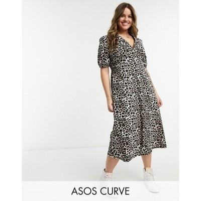 エイソス レディース ワンピース トップス ASOS DESIGN Curve ultimate midi tea dress in leopard print