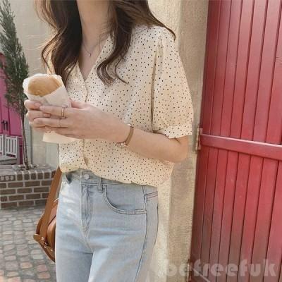 婦人服の上着韓国版2020夏新型半袖シャツ女性Vネック小柄柄柄な花のシャツがゆったりしていて痩せています