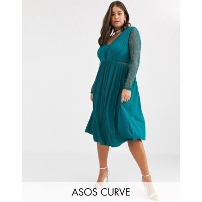 エイソス ドレス 大きいサイズ レディース ASOS DESIGN Curve lace and pleat long sleeve midi dress エイソス ASOS グリーン 緑