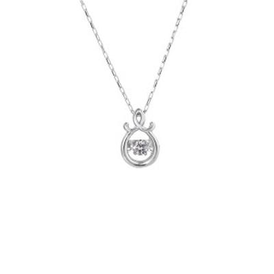 ダンシングストーンペンダント ネックレス〔K18WG・天然ダイヤモンド0.03ct〕  〔送料無料〕