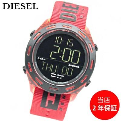 ディーゼル DIESEL クラッシャー DZ1916 メンズ デジタル ブラック レッド 腕時計