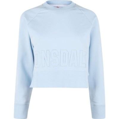 ロンズデール Lonsdale レディース スウェット・トレーナー クロップド トップス Crop Sweatshirt Sky Blue