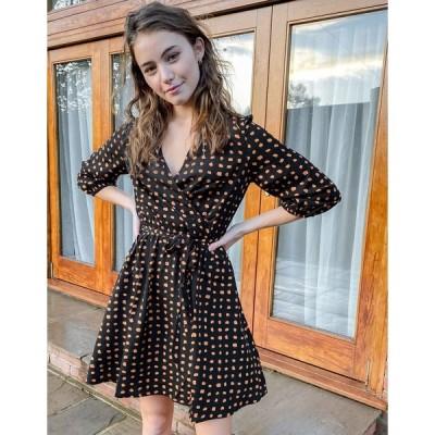 ニュールック ミニドレス レディース New Look wrap front mini dress in black spot print エイソス ASOS ブラック 黒