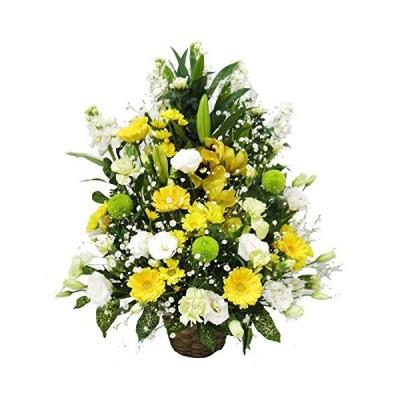 お供え お悔やみ フラワーアレンジメント LLサイズ ユリ 入り (白+黄色系) お葬式 や 法要 命日 の 供花 に