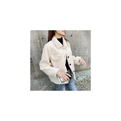 ファーコート レディース 毛皮コート ショートコート フェイクムートン 厚手 あったか 暖かい アウター 防寒 ゆったり おしゃれ 通学 冬物 秋物 新作