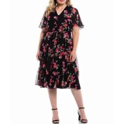 カルバンクライン レディース ワンピース トップス Plus Size Short Sleeve Chiffon Midi Dress Black/Hibiscus Multi