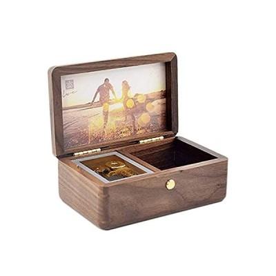SOFTALK ビンテージスクエアジュエリーボックス - 天然木製オルゴール カスタマイズ可能な写真付き 巻き上げ装飾ボックス 記念品ギフトボックスケ