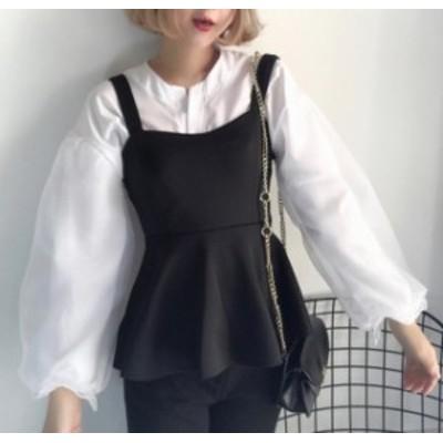 ブラウス レディース 長袖 白 2点セット ペプラム ビスチェ チュール 韓国 ファッション ボリューム袖 トップス ゆったり 大人可愛い レ