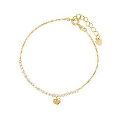 ジェムストーン オーラホーム Blue Box Jewels Goldtone Sterling Silver Heart Pendant Link Bracelet