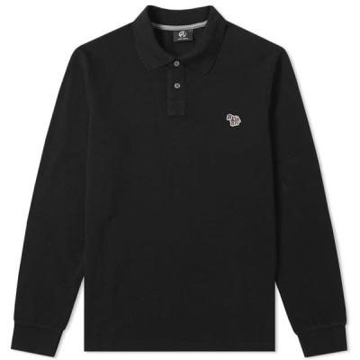 ポールスミス Paul Smith メンズ ポロシャツ トップス long sleeve regular fit zebra polo Black