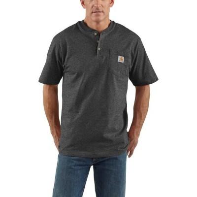 カーハート シャツ トップス メンズ Carhartt Men's Workwear Short Sleeve Henley Charcoal 01