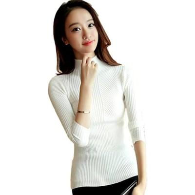 レディース ニット セーター ハイネック 大きいサイズ 長袖 清楚 無地 トップス ホワイトL(ホワイトL, M)