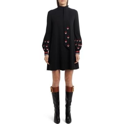 ヴァレンティノ VALENTINO レディース ワンピース ワンピース・ドレス Arrow Embellished Long Sleeve Minidress Nero Multicolor