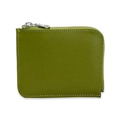 財布 ミニ財布 コンパクト レディース l字ファスナー カード 小さめ 使いやすい 牛革 オシャレ 薄い 軽い ブランド (グリーン)