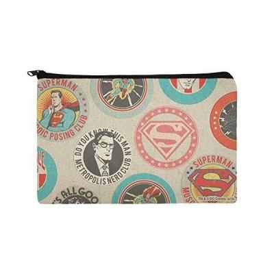 スーパーマン ボタンパターン メイクアップ コスメティック バッグ オーガナイザー ポーチ