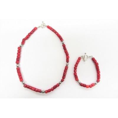 #anza 赤珊瑚 ネックレス ブレスレット セット 赤 シルバー 925 コーラル レディース [665601]