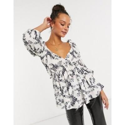 インザスタイル レディース シャツ トップス In The Style x Lorna Luxe top with exaggerated sleeve in mono floral print